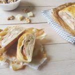 Rotolo di sfoglia con fontina, prosciutto cotto e noci